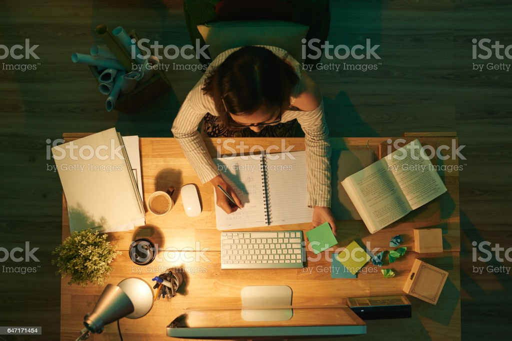 Studying at night stock photo