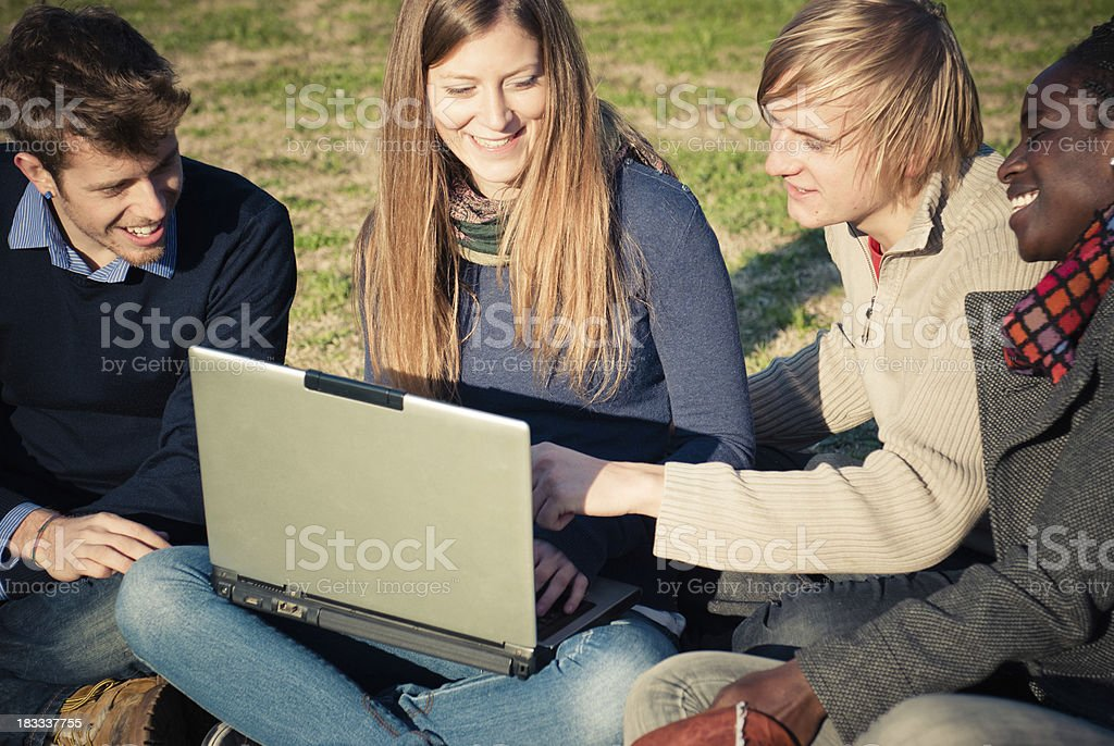 Studying at the Campus, multiracial royalty-free stock photo