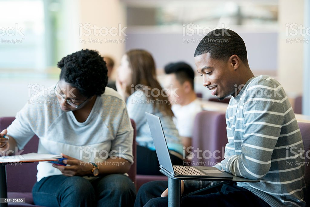 Studying Between Classes stock photo