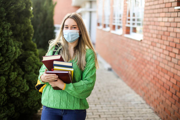 Studying during the pandemic stock photo