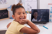 6 years old girl learning at home online, using a laptop computer with a video chat app. The elementary student studying math via the internet with her private teacher. Distance learning during the Coronavirus pandemic. The happy satisfied girl with hand on chin looking over the shoulder at the camera with a big smile.
