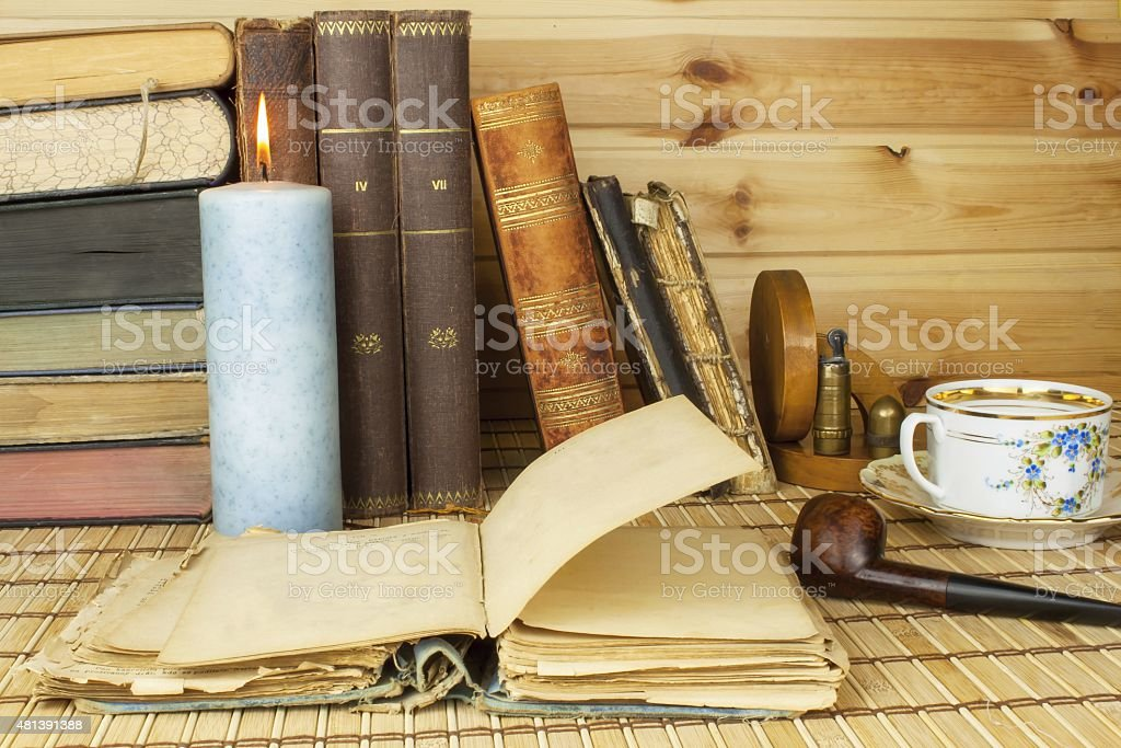 Studying history. Old books on the table. stock photo
