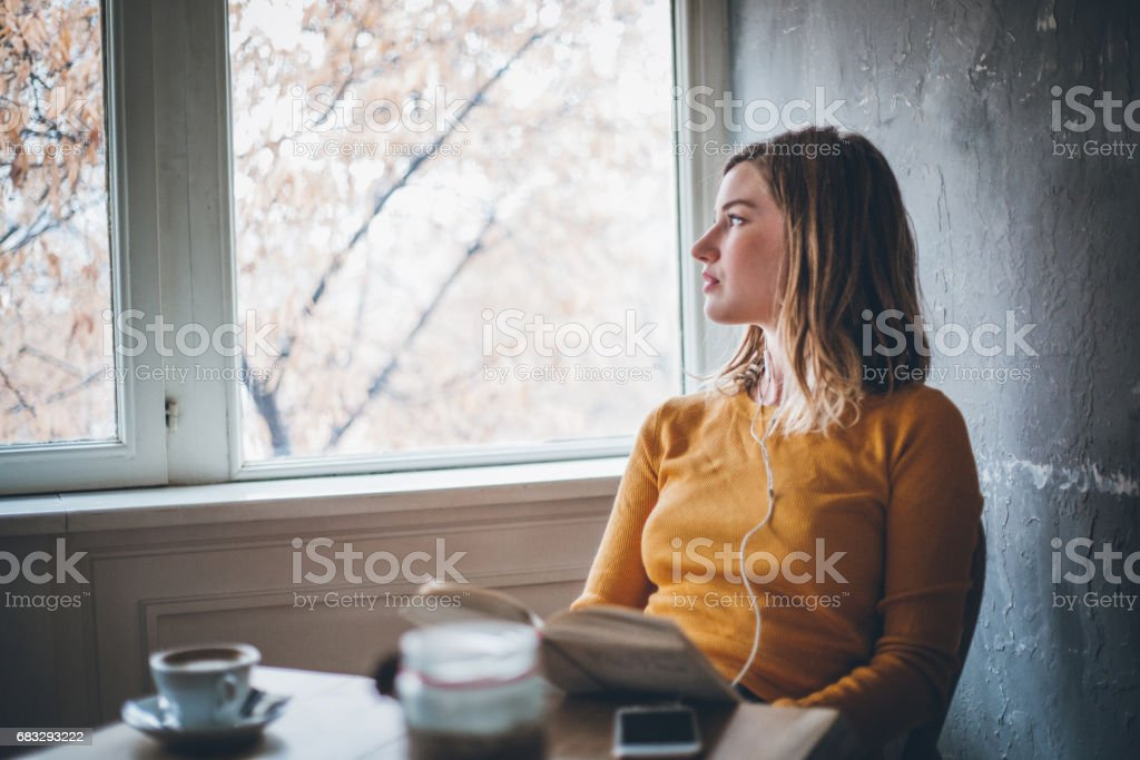 Studying in cafe stock photo