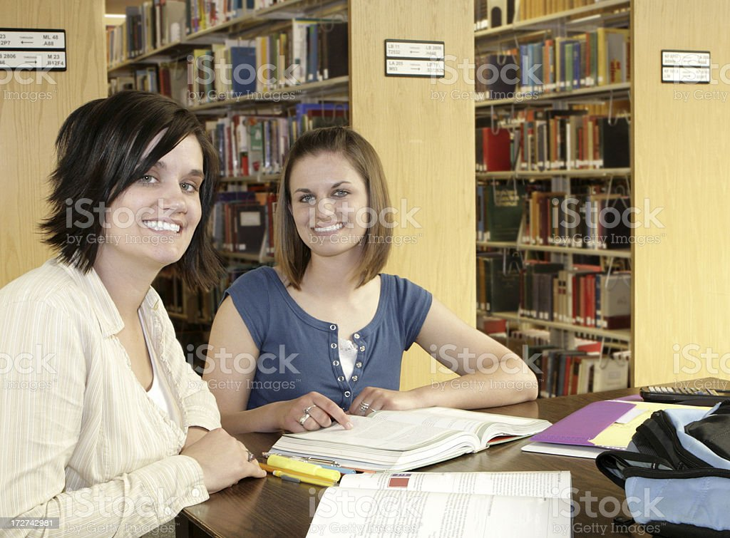 Studying in Library royalty-free stock photo
