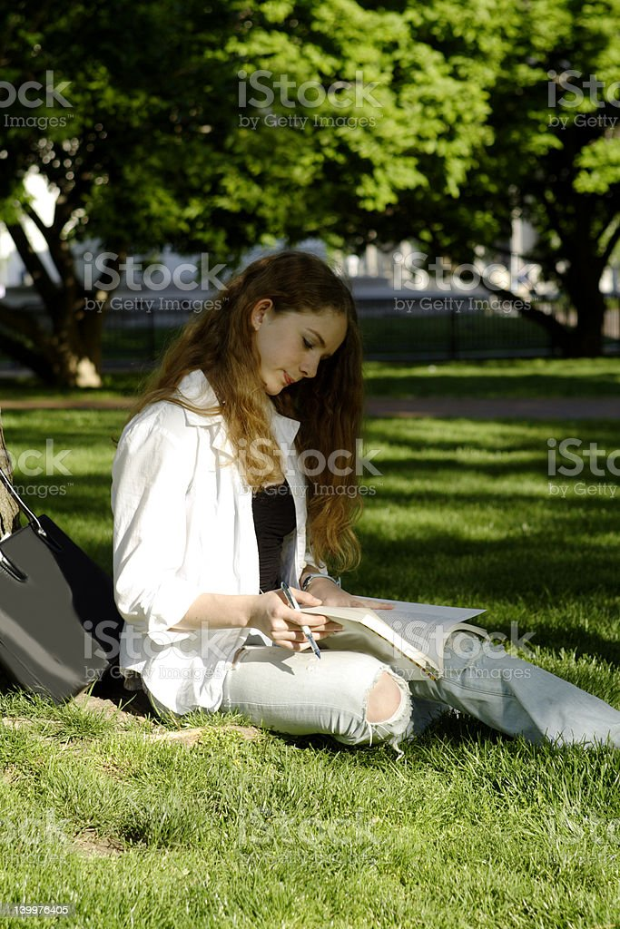 Studying in the park royalty-free stock photo