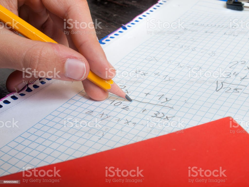 studying mathematics stock photo