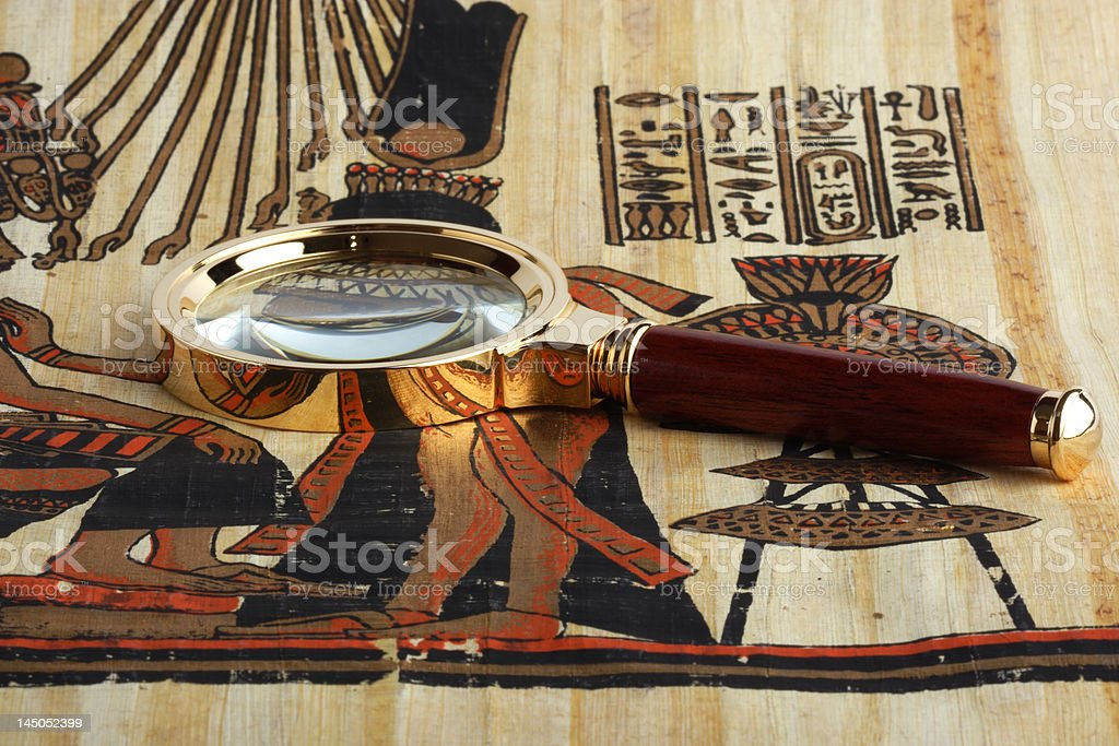 Studying of the Egyptian papyrus. royalty-free stock photo