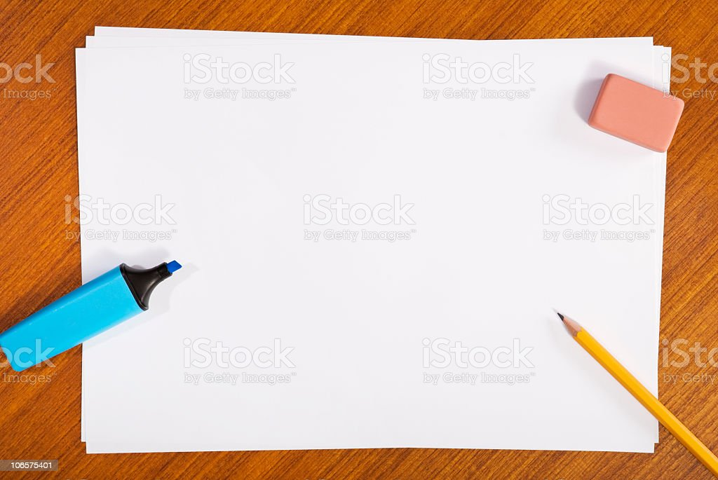 Studying on a Wooden Table royalty-free stock photo