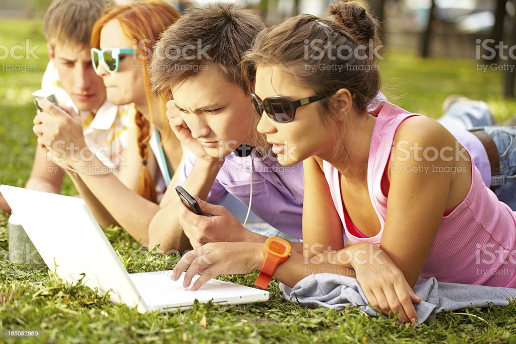Studying on fresh air royalty-free stock photo