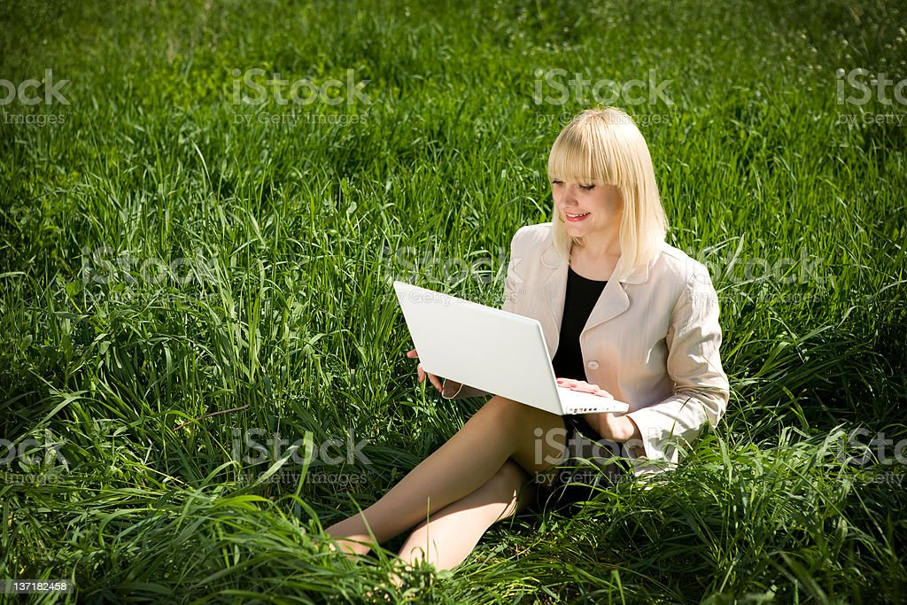 studying outdoors royalty-free stock photo