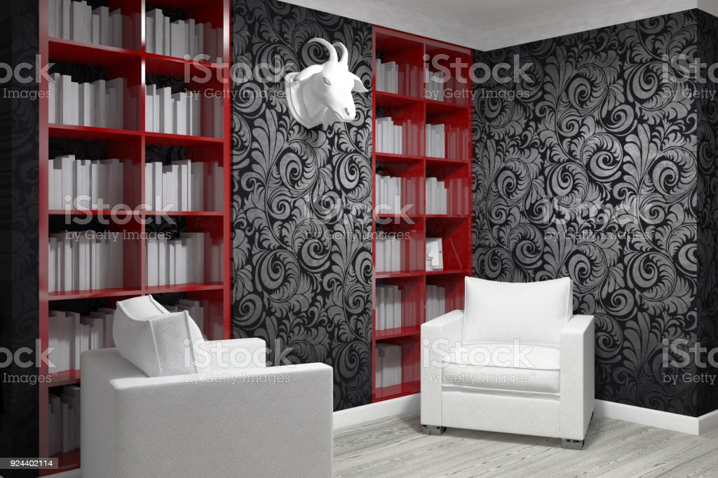 Studying Room With Two Armchairs Royalty Free Stock Photo