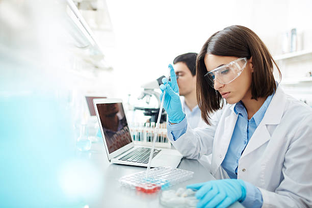 Studying substances stock photo