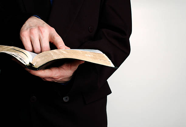 Studying the bible stock photo