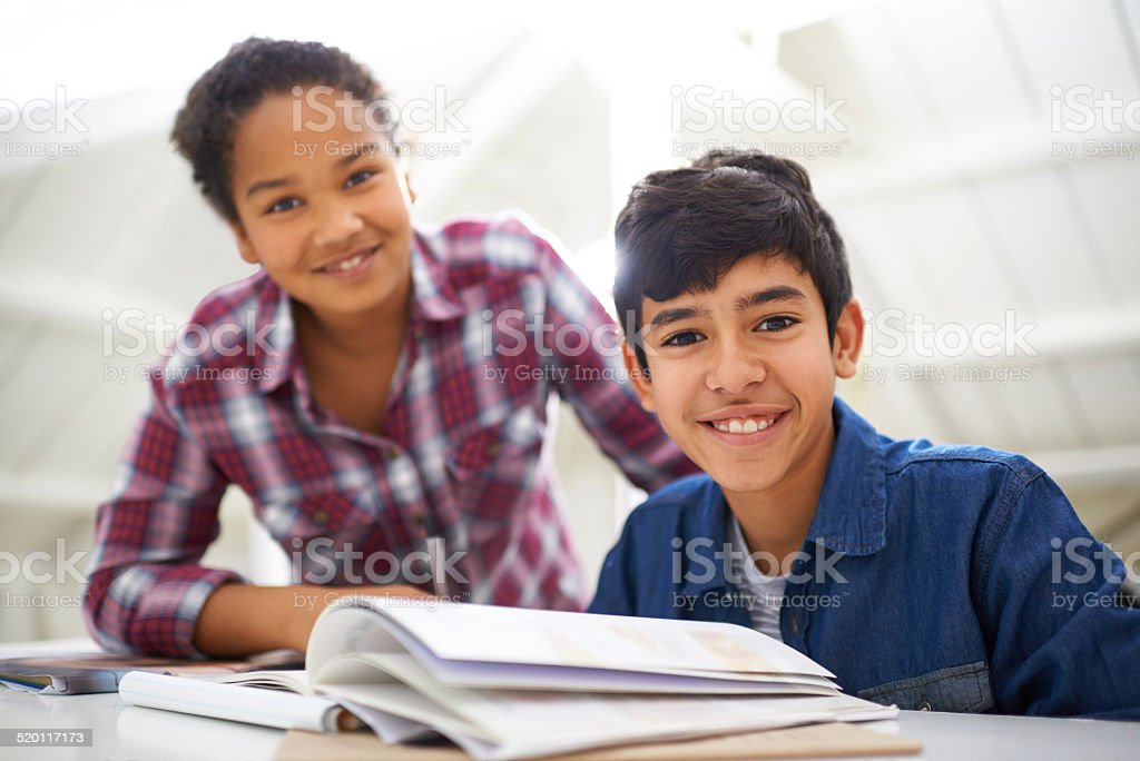 Studying together is a lot more fun stock photo