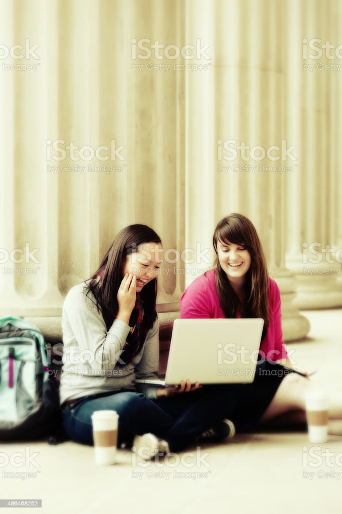 Studying with WIFI Laptop Computer on School Campus stock photo