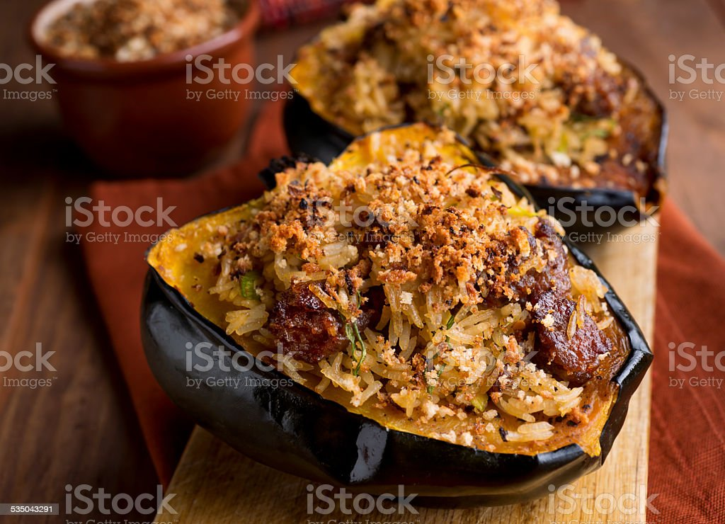 Stuffed Acorn Squash stock photo