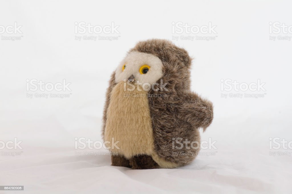 Stuffed animal owl toy on a white background royalty-free stock photo