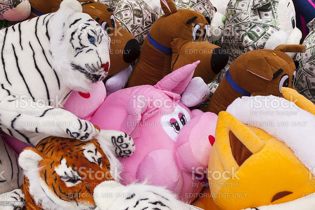 Stuffed Animals At Carnival, Toy, Prize royalty-free stock photo