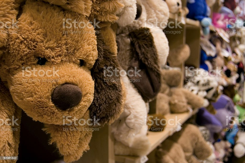 Stuffed animals on a shelf in a department store stock photo