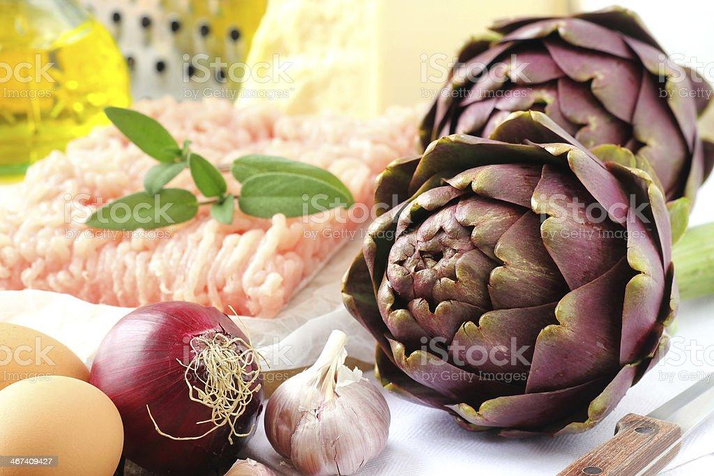 Stuffed artichoke ingredients stock photo