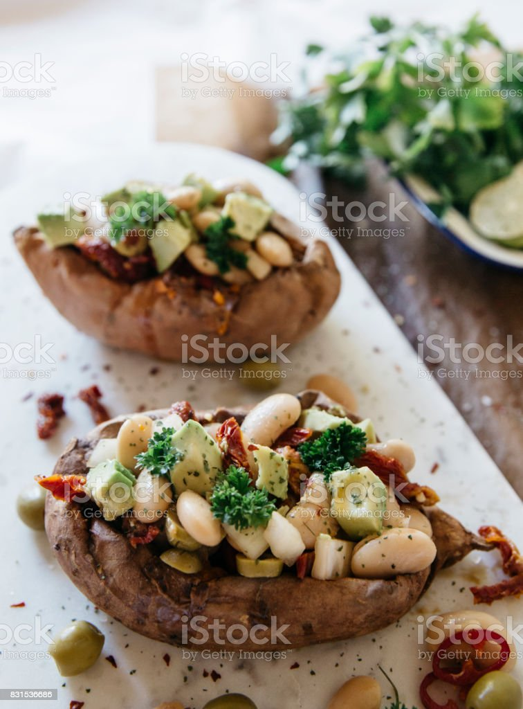stuffed baked potato stock photo
