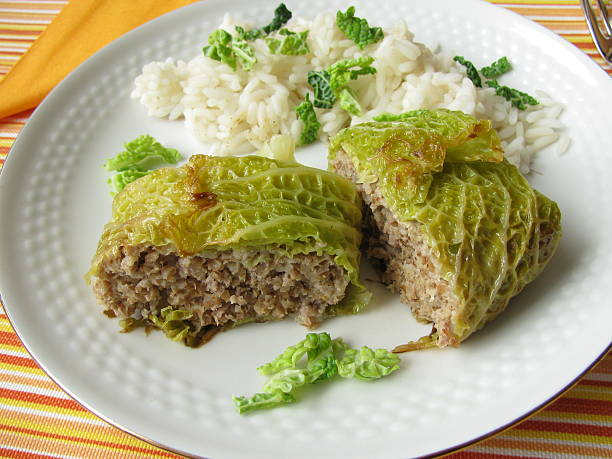 Stuffed cabbage - Kohlroulade stock photo
