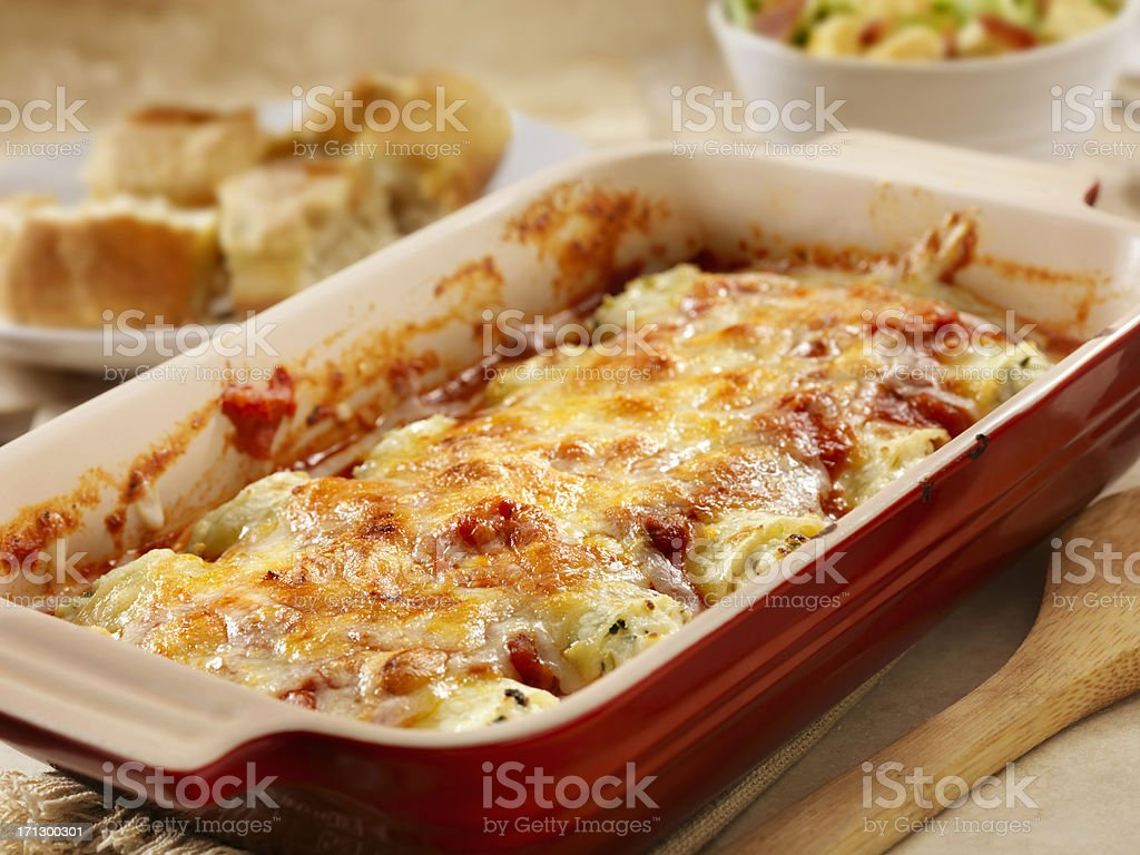 Stuffed Cannelloni with Ricotta and Spinich stock photo