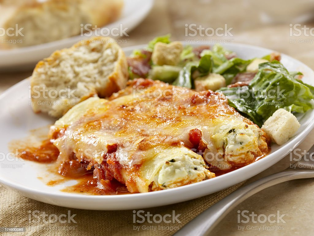 Stuffed Cannelloni with Ricotta and Spinich royalty-free stock photo
