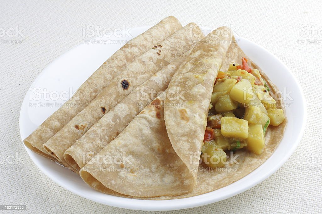 Stuffed chapathi with vegetables. royalty-free stock photo