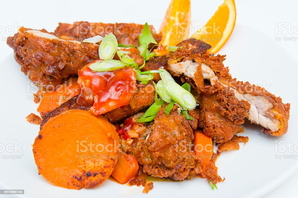 Stuffed Chicken a la Cuisine Creole stock photo