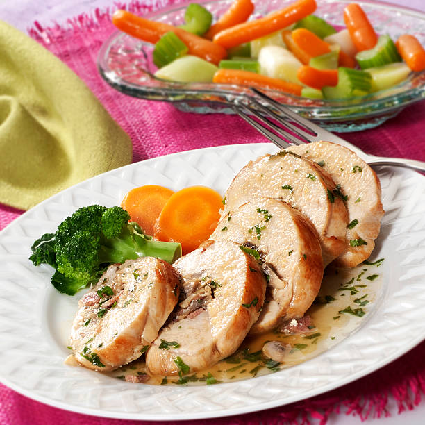 Stuffed chicken breast stock photo