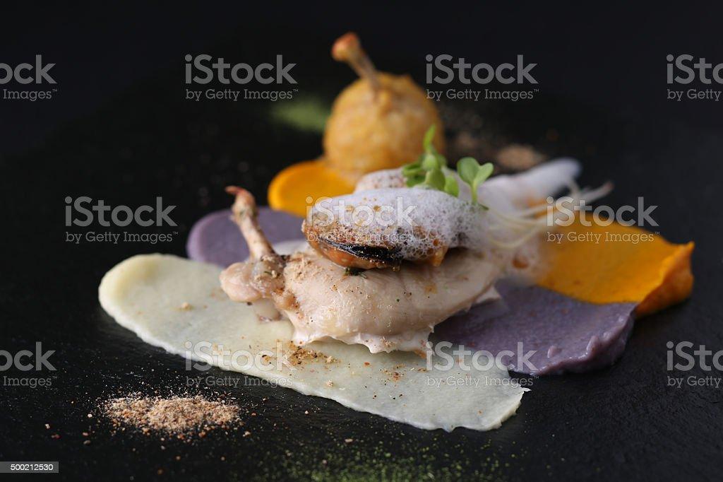 Stuffed chicken breast, white meat chicken, different sauces on dark stock photo