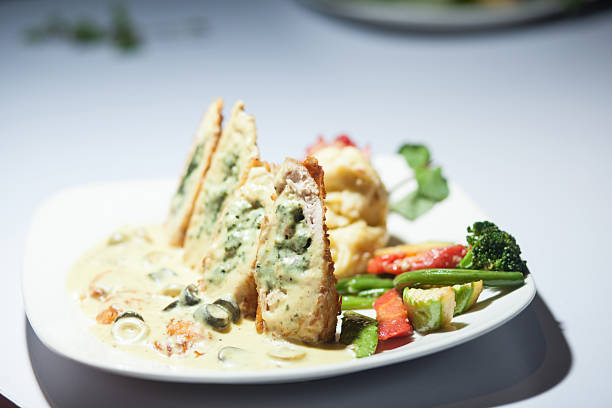 Stuffed Chicken with Vegetables stock photo