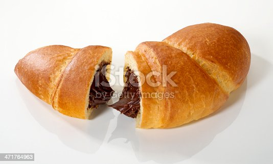 Stuffed croissant with chocolate cream cut in two,with clipping path.