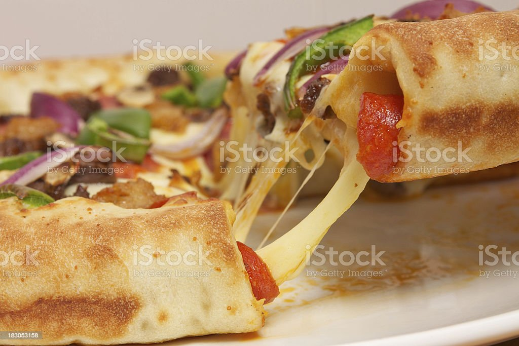 Stuffed Crust Pizza Close Up royalty-free stock photo