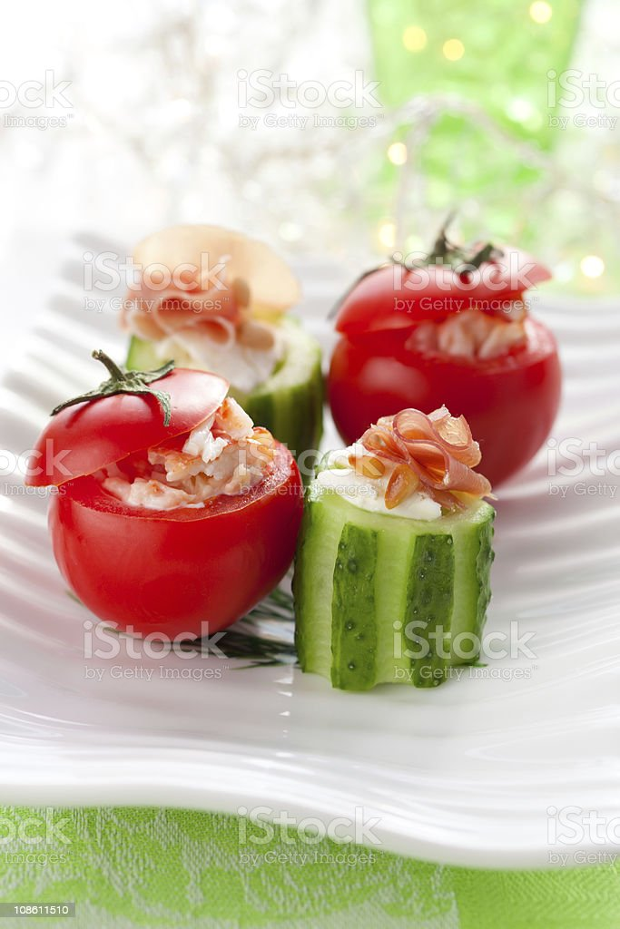 Stuffed cucumber and tomato royalty-free stock photo