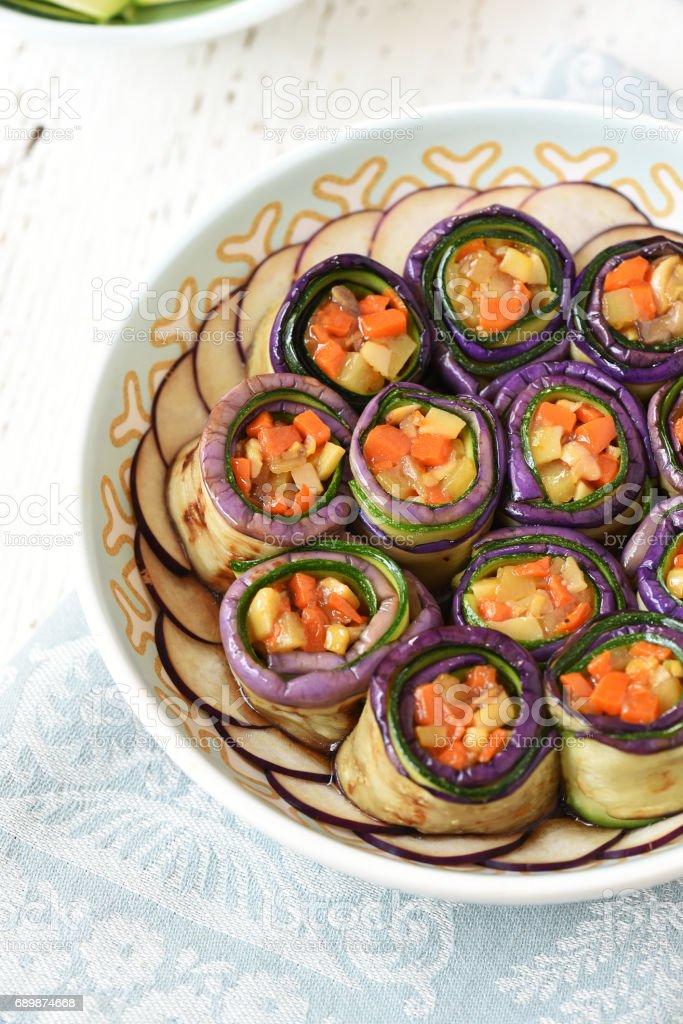 Stuffed Eggplant Roll-Ups stock photo