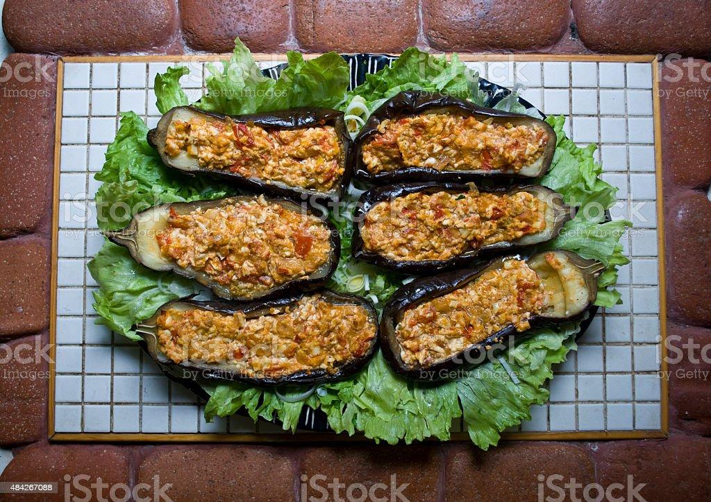 Stuffed eggplants stock photo