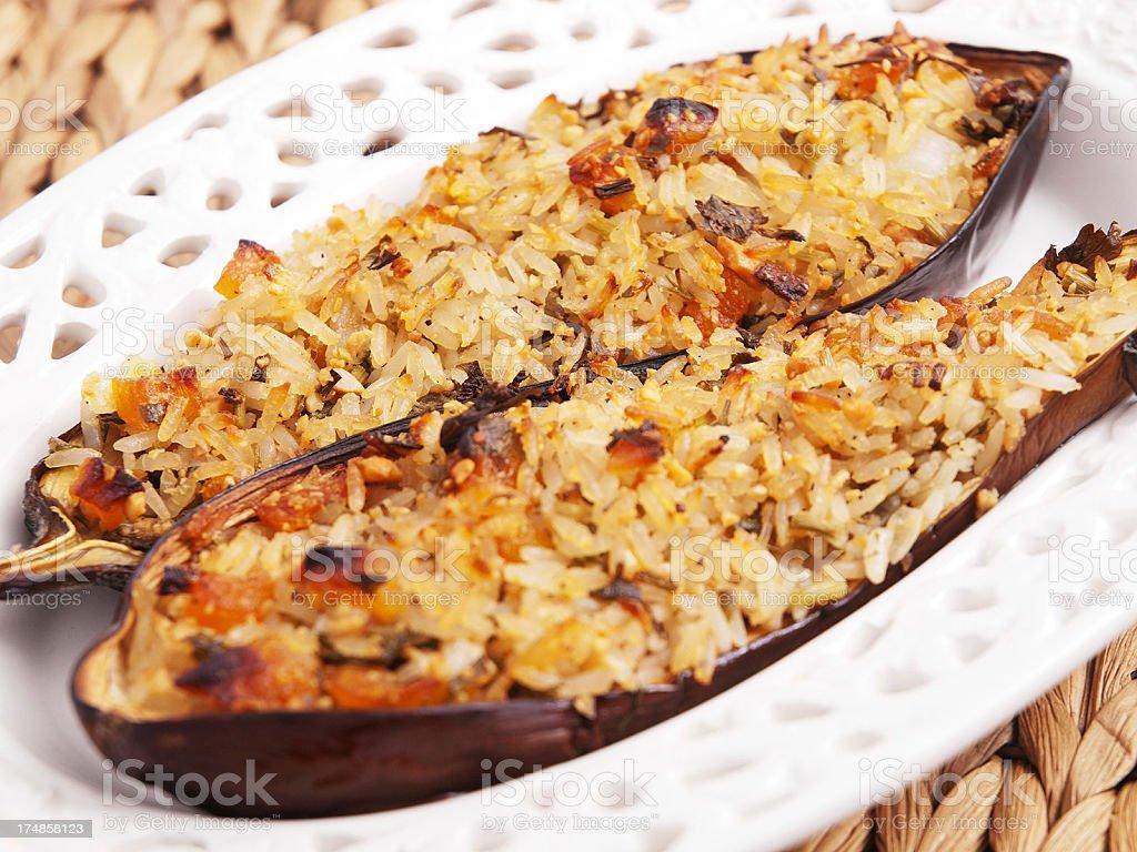 Stuffed eggplants with rice royalty-free stock photo