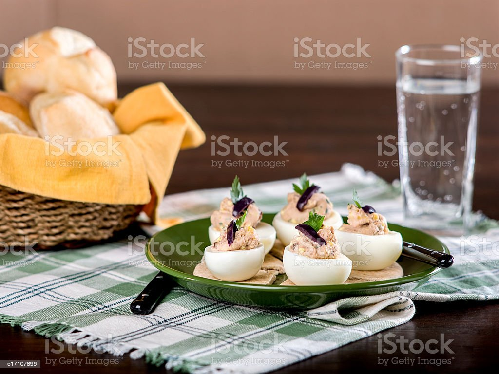 Stuffed Eggs with Pate stock photo