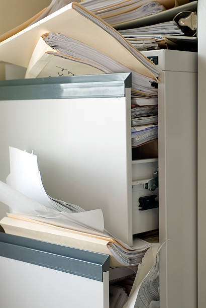 Stuffed File Cabinet stock photo