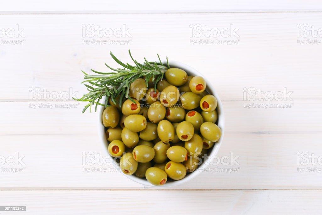 stuffed green olives stock photo