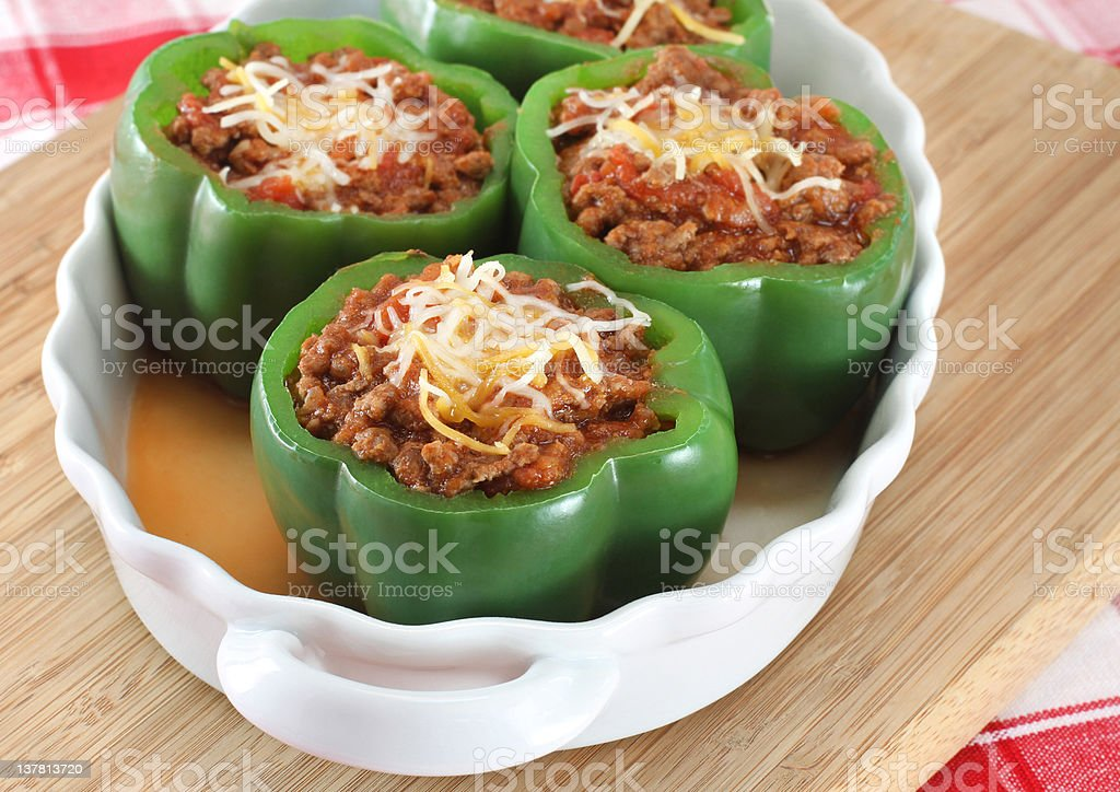 Stuffed Green Peppers royalty-free stock photo