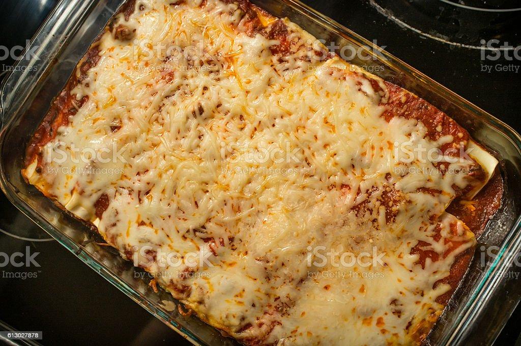 Stuffed Manicotti Lasagna stock photo