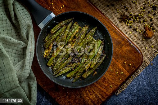 An Indian vegetable preparation masala bhindi or okra or lady finger