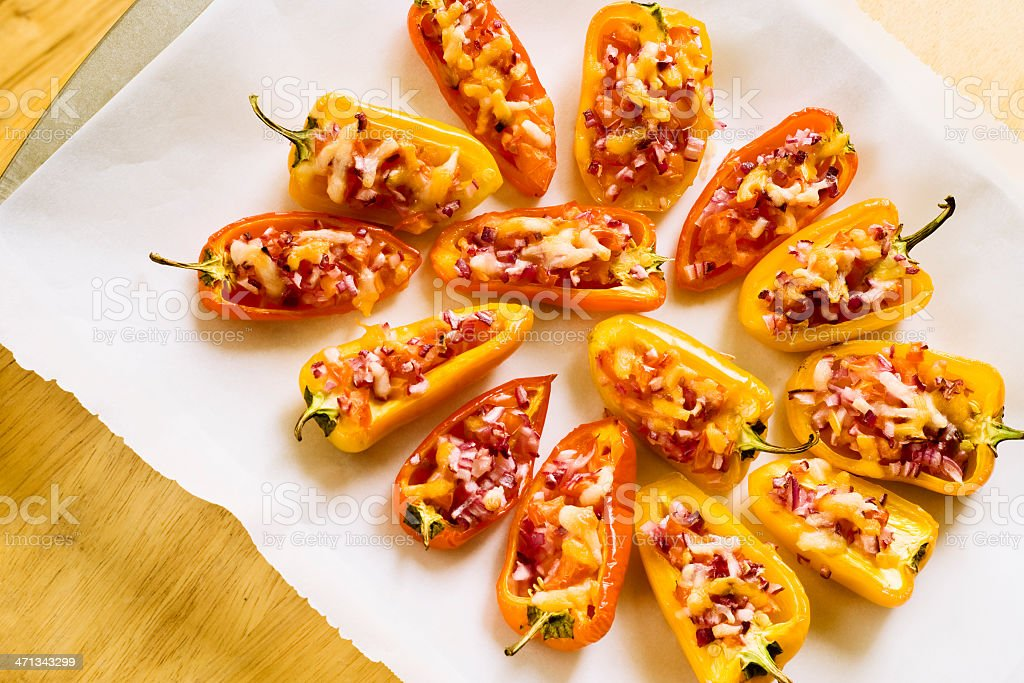 Stuffed mini peppers stock photo