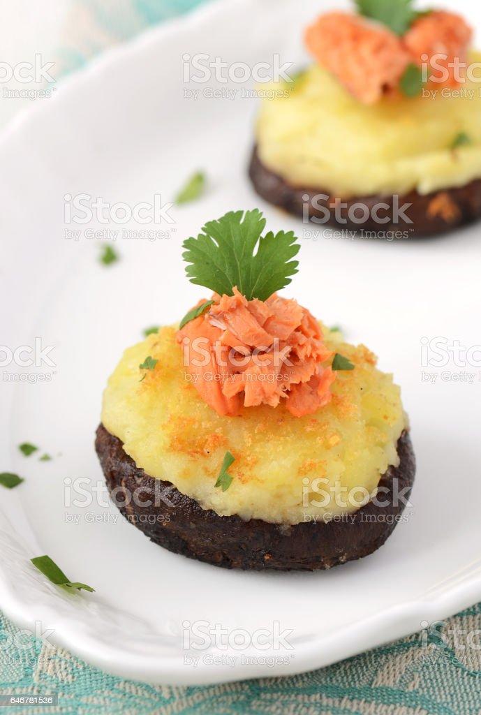 Stuffed Mushroom with Salmon stock photo