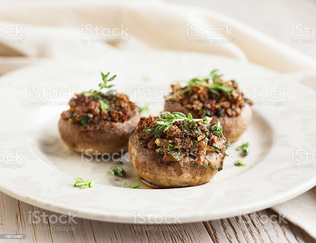 Stuffed mushrooms stock photo