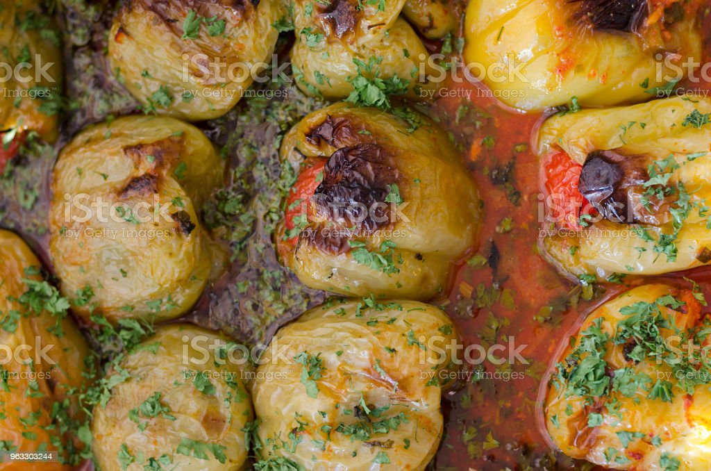 Stuffed paprika food made for dinner stock photo