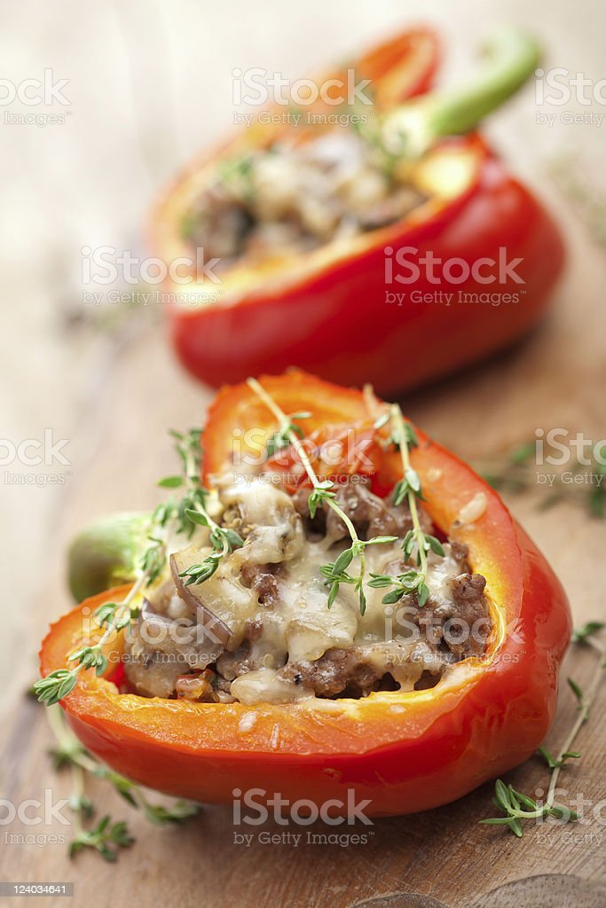 stuffed paprika with meat and vegetables royalty-free stock photo
